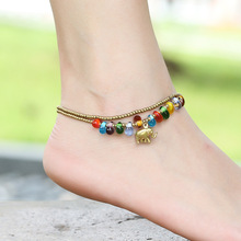 Handmade Glass Beads Anklets Dolphin Starfish Elephant Bracelet Women Girls Barefoot Chain Jewelry Boho Beach Foot Ornaments(China)