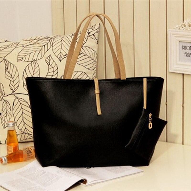 Vintage Women PU Shoulder Bag Portable Office Lady Handbag Women Tote Black Casual Large Capacity Two-Piece Zipper<br><br>Aliexpress