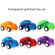 10pcs/lot  Mini cheap transparent colorful pull back toy run car force control safe car model gift for baby color randomly send