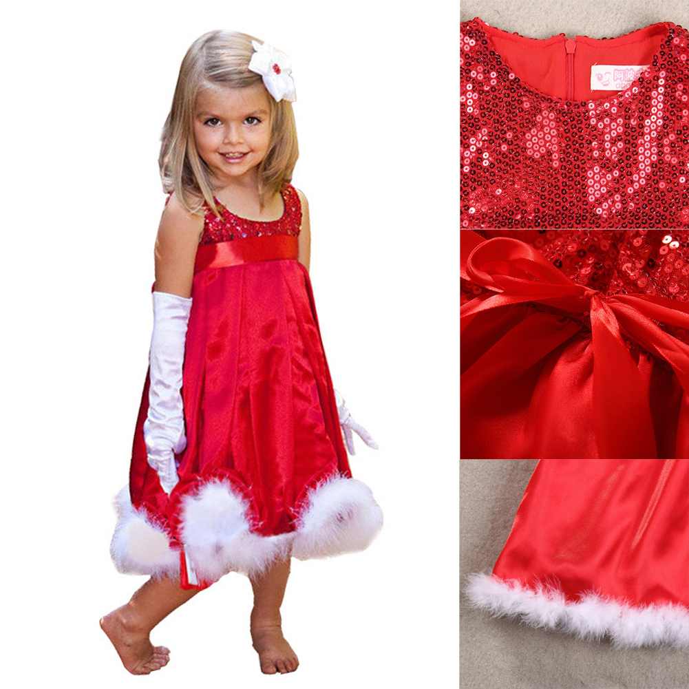 Christmas dress costume - Kids Baby Girls Christmas Party Costume Dress Bling Sequins Red Organza Beautiful Girls Clothes Outfit