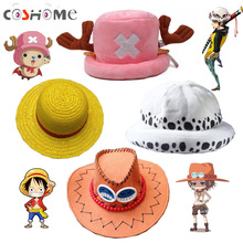 Coshome One Piece Luffy Yellow Straw Boater Beach Hats Tony Chopper Trafalgar Law White Navy Cap Ace Orange West Cowboy Hats(China)