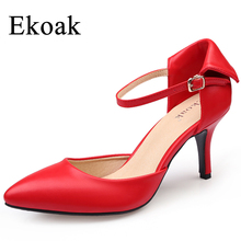 Ekoak Summer Autumn Women Pumps Genuine Leather Sexy High Heels Women Sandals Ladies Fashion Handmade Party Wedding Shoes Woman