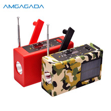 Multifunctional Portable Radio Receiver Emergency Solar Hand Crank FM Radio MP3 Player With Flashlight Support TF Card USB