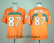 Free shipping 2017-2018 Nike New Arrival Nike Miami Hurricanes Reggie Wayne 87 White Sweatshirts Blackout(China)