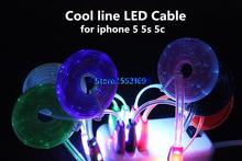 sell  LED Cool Light Mobile Phone Data Cable Sync Charging 2000pcs for Apple Iphone 5 5S  5C