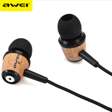 AWEI Q9 Headphones In Ear Fone de ouvido Wooden Earphone Stereo Auriculares Audifonos Nylon Weave Wire Headset Ecouteur Kulakl k(China)