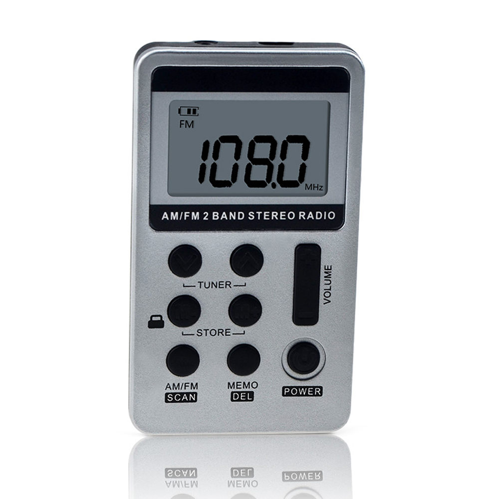 HANRONGDA Digital LCD display Pocket FM//AM Tuning Radio Receiver with Earphone