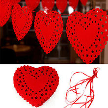 3 Meter Party Garland wedding Party Banner Bunting Red Heart Love Nonwovens Fabric Flag For Wedding decoration
