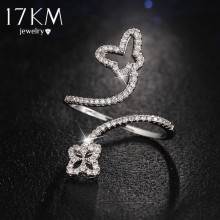 17KM Fashion Gold Color Crystal Flower Rings For Women Rhinestone Butterfly Wedding Female Jewelry