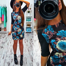 2017 Spring Women Dress Vestidos Robes Floral Printed Half Sleeve Slim O-neck Elegant Dresses S M L XL XXL - Magical Personalized Clothing Store store
