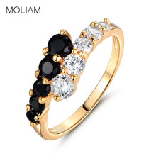 MOLIAM Fashion Classic Rings for Women Gold-Color White & Black Crystals CZ Engagement Love Ring Jewellery MLR110(China)