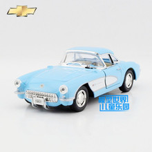 Free Shipping/1:34 Scale/1957 Chevrolet Corvette/Classical Educational Model/Pull back Diecast Metal toy car/Collection