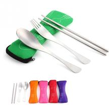 Travel Picnic Portable Cutlery Stainless Steel Tableware 3pcs/sets Chopsticks Spoon Fork