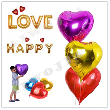 10pcs 18inch Wedding Birthday Heart Shaped Aluminum Foil Balloons Festival Party Supplies Helium Balloon 6ZSH034-18(China)
