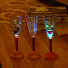 Halloween skull ghost claw glowing champagne cup led flash wine glass bar ornaments props(China)
