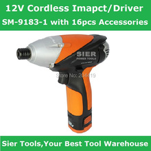 Free Shipping!/SM-9183-1 12V Cordless Imapct Driver/impact wrench with 16pcs Accessories