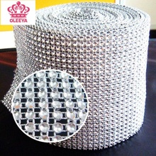 24 rows 4mm Rhinestone mesh trimming ( Without Rhinestone ) Silver plastic sew on mesh trim 10 yards/roll for Decoration Y2367(China)