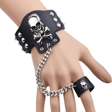 Hip hop Jewelry Rock Bracelet Spikes Rivet Gothic Skeleton Skull Punk Wide Cuff Leather Bracelets Bangle For women men