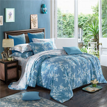 Papa&Mima White Floral Dark Blue Bedding Sets Queen King Size Soft Artificial Silk Bedlinens Duvet Cover Sets Pillow Cases(China)