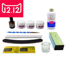 BTT-75 New Nail Art Acrylic Set Ezflow A Polymer Powder Q Monomer Pen Nail Primer File Buffer Forms Kits Free Shipping
