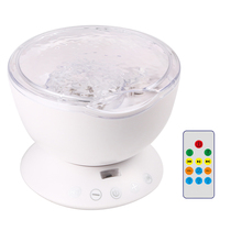 LED Ocean Sound Desktop Wall Night Light Projector Lamp Capable Of Remote Control Connector Romantic Kids Gift(China)