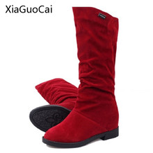 Hot Sale Women Martin Boots Stretch Fabric Suede Women Autumn Boots Height Increasing Brown Mid-calf Boots X804 5(China)