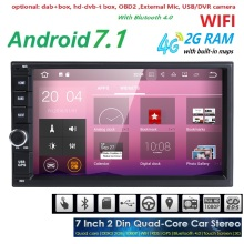 7 inch Android 7.1 System 2GB RAM Quad Core 2 din Universal Car DVD Player with 4G WiFi Bluetooth GPS Navigation Radio 1024*600(China)