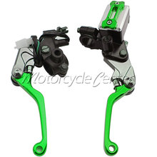 "Motorcycle 7/8"" 22mm Brake Master Cylinder Reservoir Levers For Kawasaki KX 65 125 250F 450F KX450F KLX 150S 250 D-TRACKER Green"