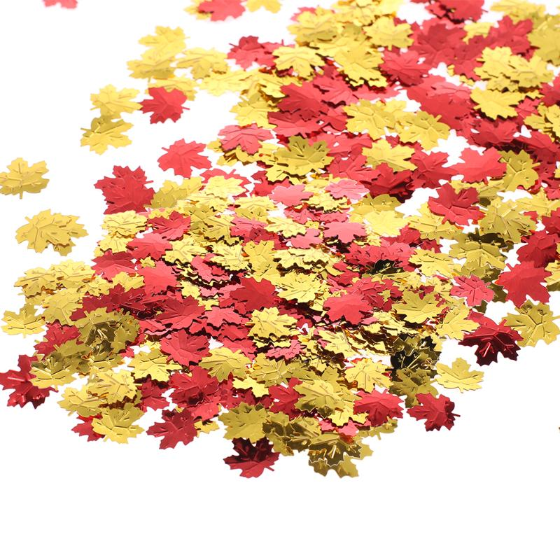 Metallic 200pcs Autumn Leaves Table Confetti Party Chirstams Wedding Maple Leaf