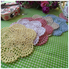 DIY Handmade Crochet Placemat Retro Hotel Dinner Decor Coaster Flower Clothes Accessory 14CM  Table Lace Doily Cup Pad 30pcs/lot