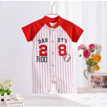 High-quality Summer Baby Bodysuits Baby Boys Girls Casual Striped Short-sleeved Jumpsuits Cotton Cartoon Red Tennis Clothes V49