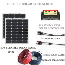 100W solar power system; energia solar kit 50w 2PCS; solar generator 100W with connection cable; energia solar kit(China)