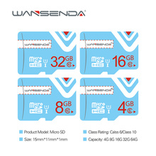 Original Wansenda 8GB 16GB Micro Sd Card 32GB 64GB Class 10 TF Card Memory Card Free Card Adapter with retail package