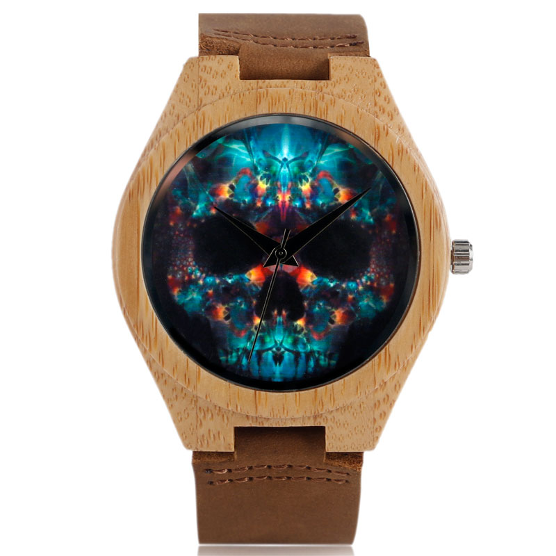 2016 New Arrival Wood Watches Skull Gothic Style Wrist Watch Blue Dial Analog Quartz Watch Mens Brown Dress Watch<br><br>Aliexpress