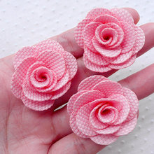 70 pcs Rose Flower Applique,Fabric Flowers 4cm/Pink)Baby Floral Hair Bows Bridesmaid Headband Earrings Toddler Hair Clip Making