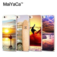 Surfboards Surf sunset  Soft Transparent TPU Phone Case Accessories Cover For iPhone 5s 6s 7 plus case