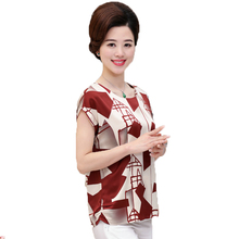 WAEOLSA Chinese Women's Summer Short Blouses Black Red O-neck Tops Geometric Pattern Silk Satin Blouse Cap Sleeved Mother Tunic