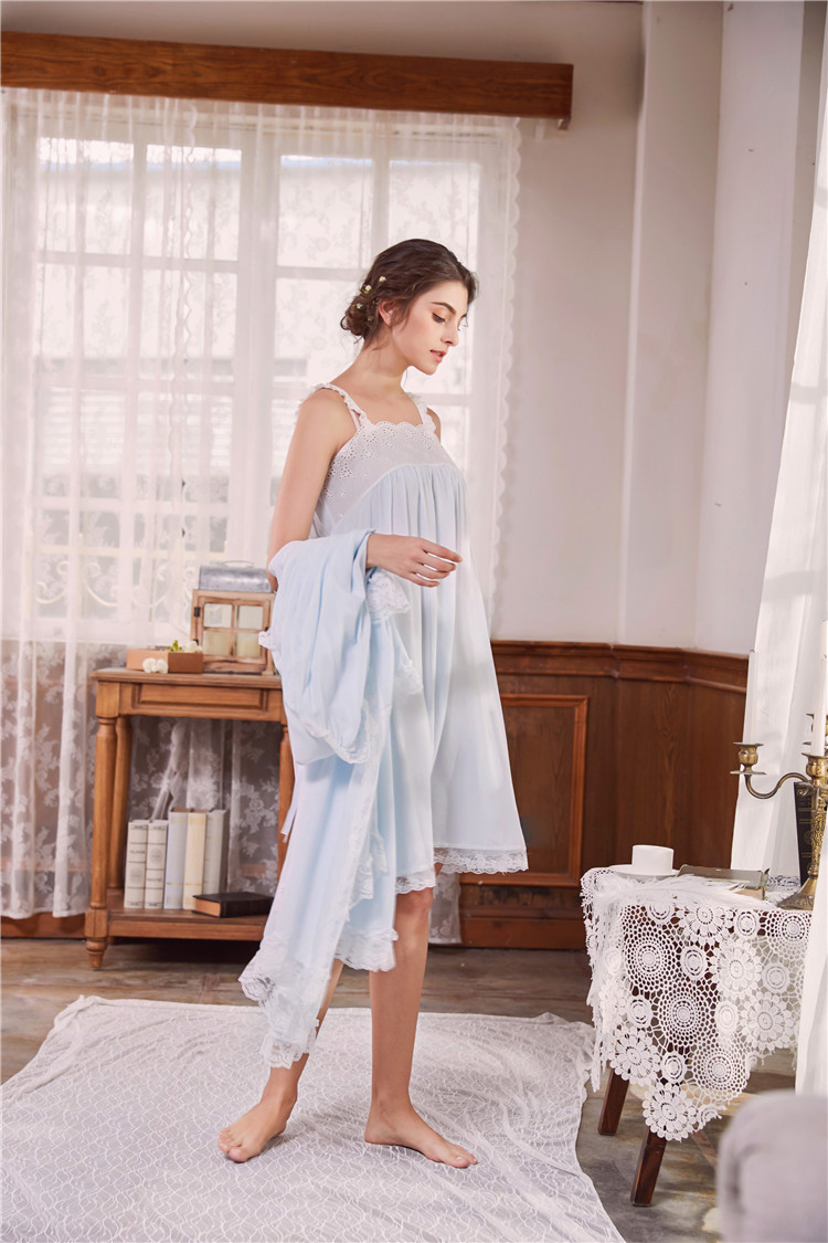 2018 New 2 Piece Robe Set Lace Chemise Full Slips with Victorian Robe Retro Palace Robe Gown Set GT046 23