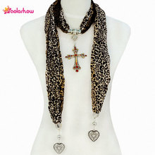 AOLOSHOW Fashion Jewellery Cross Pendant Scarfs Necklace for Women Leopard Pattern Rhinestones Pendant Necklace Scarves NL-1588