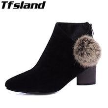 Tfsland Women Boots Winter Venonat Martin Boots Plus Velvet Scrub Thick Heel Ankle Boots Women High Heels Walking Shoes Sneakers