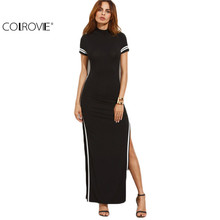 COLROVIE Women Sexy Wear Autumn Style Bodycon Dresses Black Cut Out Striped Trim Short Sleeve High Neck Split Sheath Maxi Dress(China)
