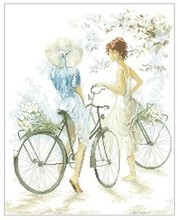 HIGH quality Counted Cross Stitch Kit Girls on Bicycle Bike Lanarte 33788 Twee meisjes met twee fietsen(China)