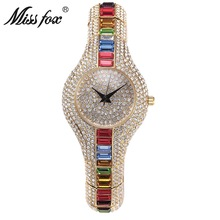 MISSFOX 30mm Small Womens Watch Shockproof Waterproof Luxury Ladies Ar Metal Watch bracelets Rhinestone Bu Cheap Chinese Watches(China)