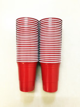 Free of shipping 16OZ double strength red plastic reusable party cups beer pong cups disposable plastic red cup -50count(China)