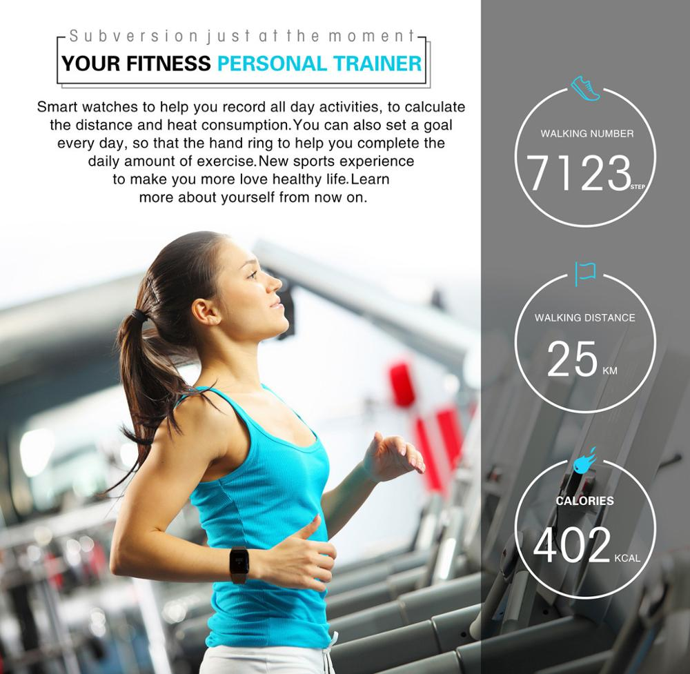 A100 Smart Bracelet Sport Pedometer SmartBand Heart Rate Fitness Watch Blood Oxygen Pressure Monitor Wristband For iOS Android 5