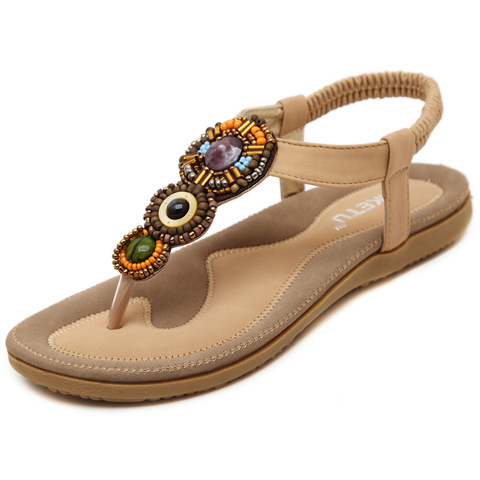 2017 New Summer Women Sandals Bohemia Flat Shoes Ankle T Strap National Heel Beaded Female Big Size 41