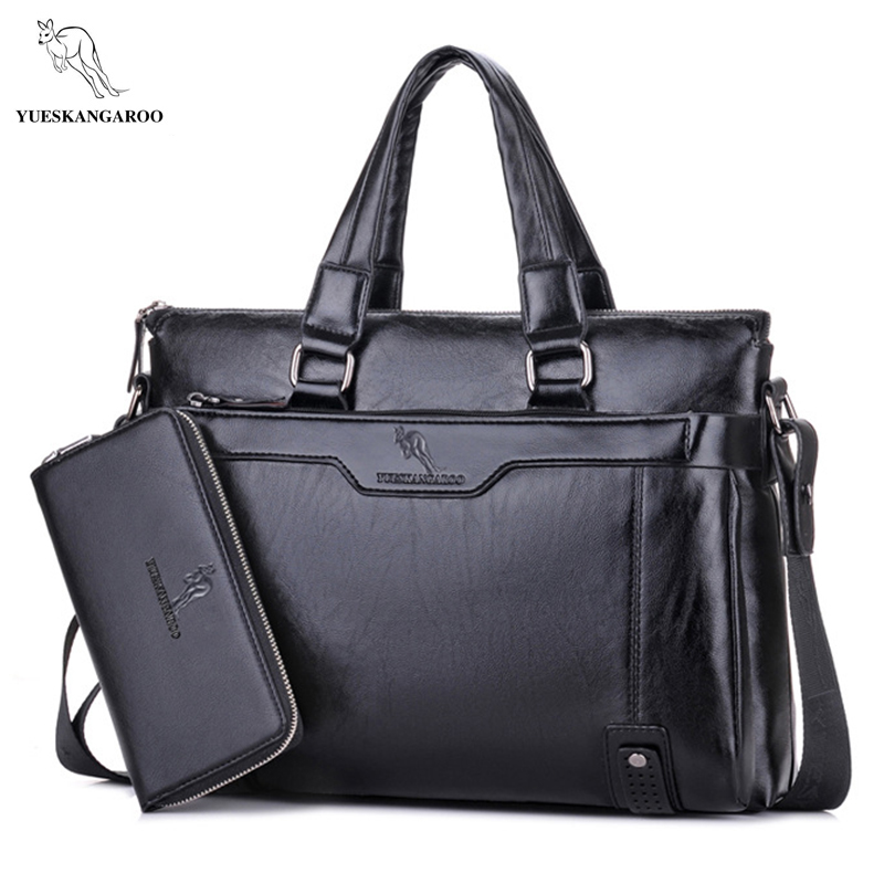 YUES KANGAROO New Man Handbag Leather Business Messenger Bag Men Computer Shoulder Bag delicate luxurious maleta briefcase<br>