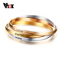 Buy Vnox Three Colors Cuff Bangle Bracelets Stainless Steel Love Faith Hope Bracelets Women Jewelry for $6.77 in AliExpress store