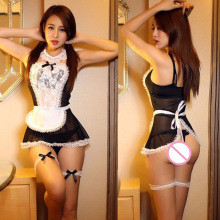 Buy Sexy Underwear Cosplay Maid Uniform Lingerie Hot Sexy Lenceria Bow Lace Erotic lingerie Sheer Cosplay Role Play Costumes