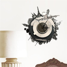 DIY 3D Wall Stickers Clock World Earth Wall Decal Clock 3D Art Wall Clock Wholesale Free Shipping 30RJL18#A10